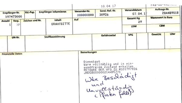 Frachtschaden-auf-Frachtpapier-notiert